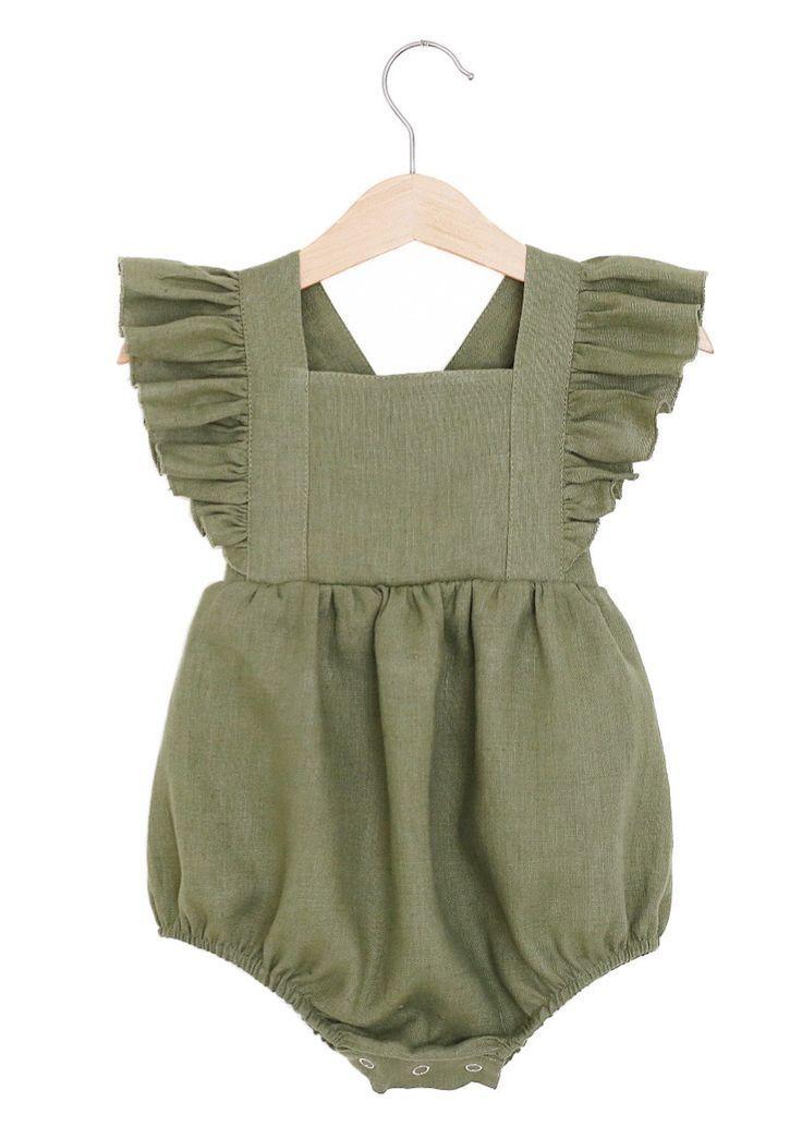 dfba4a061dc7 Handmade Olive Green Linen Vintage Style Baby Romper ...