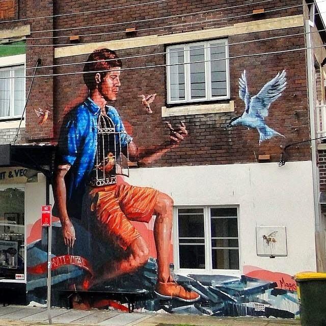 Fintan Magee in Enmore, Sydney #streetart #australia #mural