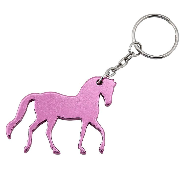 The prancing horse silhouette key chain is made from aluminum and will look great from any set of keys. 2 1/2.