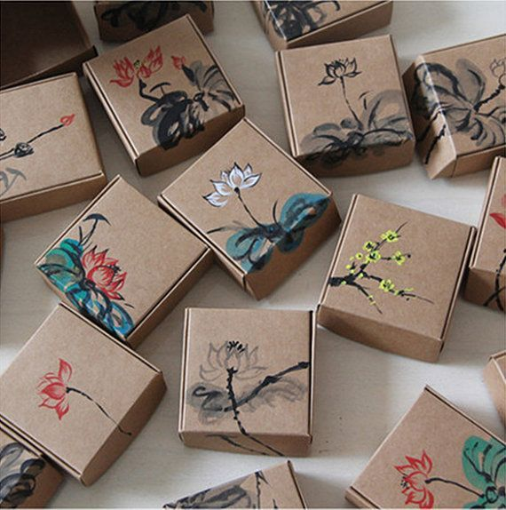 12pcs 7.5x7.5x3cm-Kraft Paper Box Jewelry Gift Handmade Soap Floral Paper Packag...