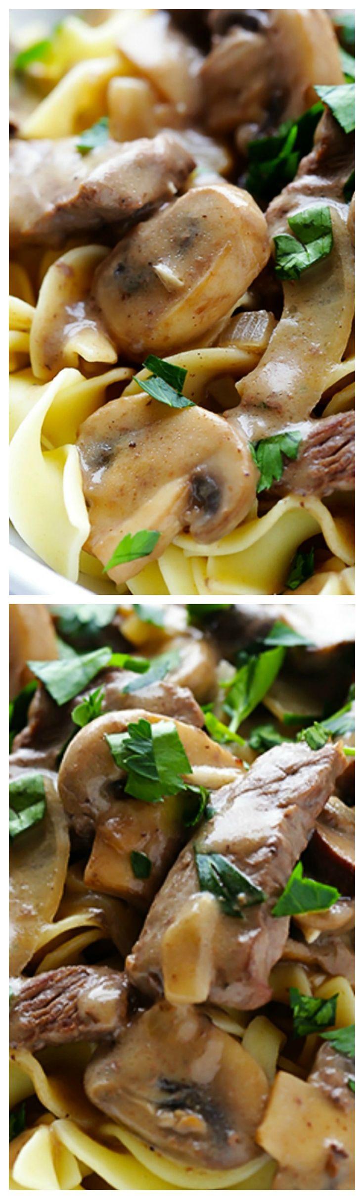Beef Stroganoff ~ 30-minute easy beef stroganoff recipe is comfort food at its best!