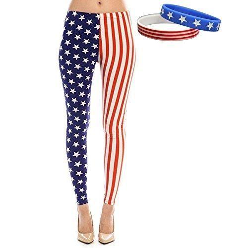 Women's American Flag Ankle Leggings Patriotic Pants (Medium Stars & Stripes)