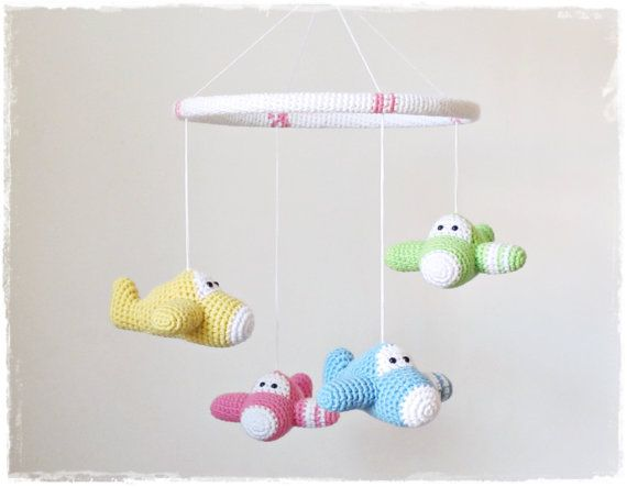 Crochet baby mobile airplanes