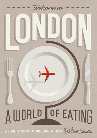 (Eat & Drink) Welcome to London: a world of eating – map by Herb Lester Associates, illustration & design by Mikey Burton