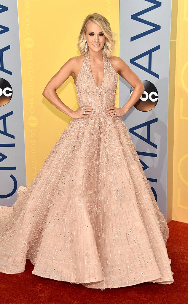 Carrie Underwood in wearing Michael Cinco from CMA Awards 2016