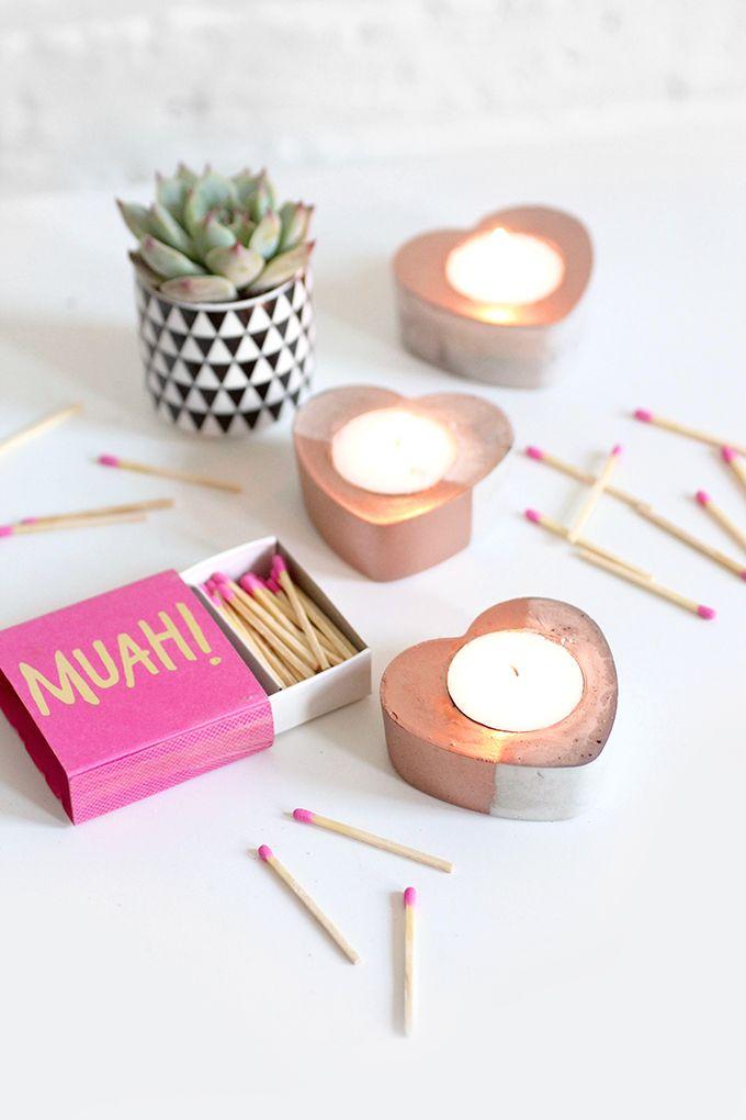 » MY DIY | Concrete Copper Heart Candles