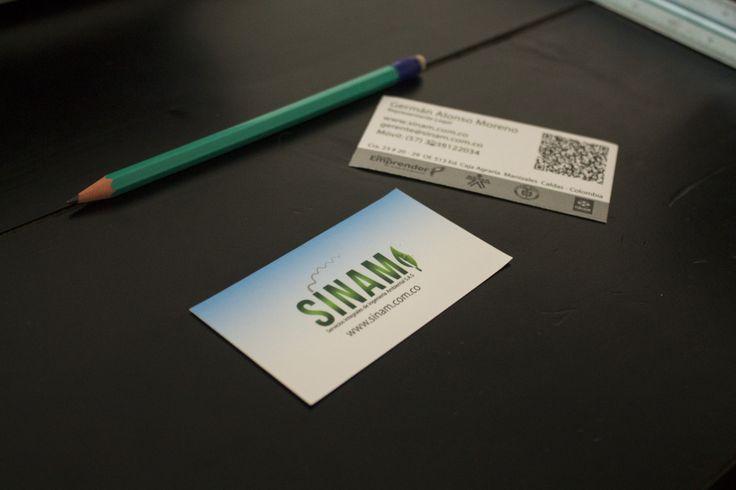 Diseño de tarjetas de presentación. empresa sinam