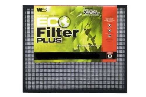 WEB WP2030 Eco Furnace Filter Plus, 20-Inch by 30-Inch by WEB. $28.00. From the Manufacturer                WEB Eco Filter Plus can be used with furnace or air conditioners.  They are reusable, washable and adjustable, which fits standard filter size of 20x30 inches.  It has three stage filtration, MERV  8, captures pollen, dust, and pet dander size particles.  Save money by reusing this filter for years.  It is reduces landfill waste, reuse over and over.  The par...