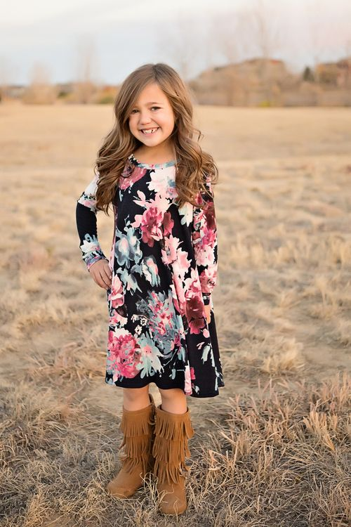 Flowy Girls Sweater Dress- Navy Floral. Ryleigh Rue Clothing. Mommy & Me Clothing Boutique.