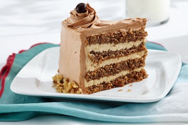 This elegant walnut mocha torte layers walnut cake with coffee buttercream, then wraps it all in mocha. Now that's a dessert! Photo by Jesse Brioux.