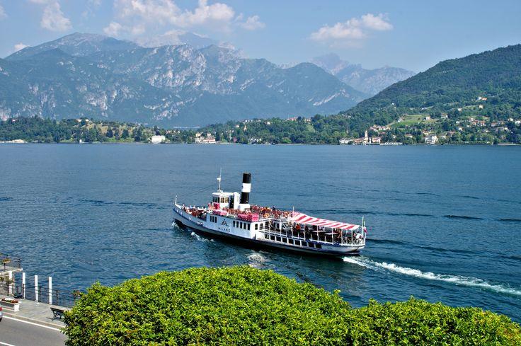 Older ferry crossing Lake Como