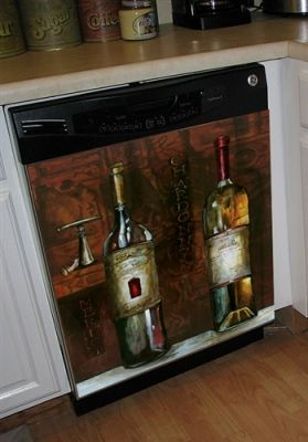 Old World Wine Dishwasher Art Cover  Do You Enjoy A Fine Bottle Of Wine? This Dishwasher Cover With An Old World Design Of Bottled Wine Will Add A Sense Of Sophistication To Your Kitchen.    Whether You Want To Leave This As A Permanent Piece Of Art For Your Kitchen Or Hang It For A Special Occasion You Can. They Are Removable And Reusable!