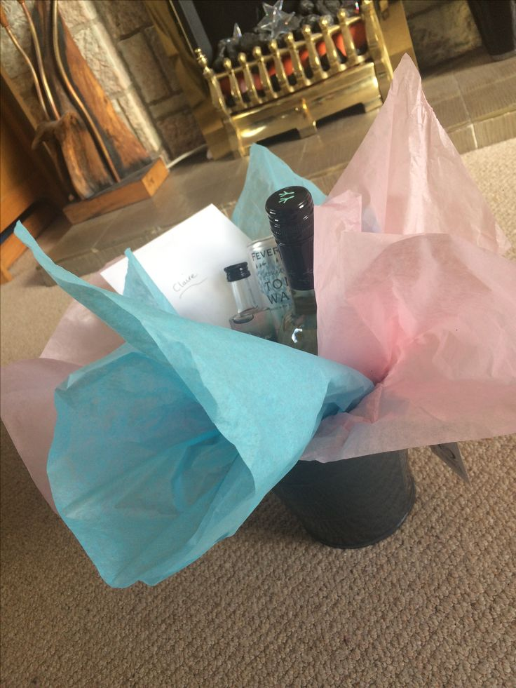Cute bucket with a nice bottle of wine, some gin and tonic and a present suited to the receiver.