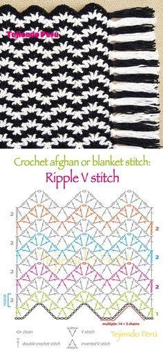 #Crochet: afghan or blanket stitch! Ripple V stitch pattern or chart :): | CROCHET | Pinterest | Puntadas, Patrones y Mantas