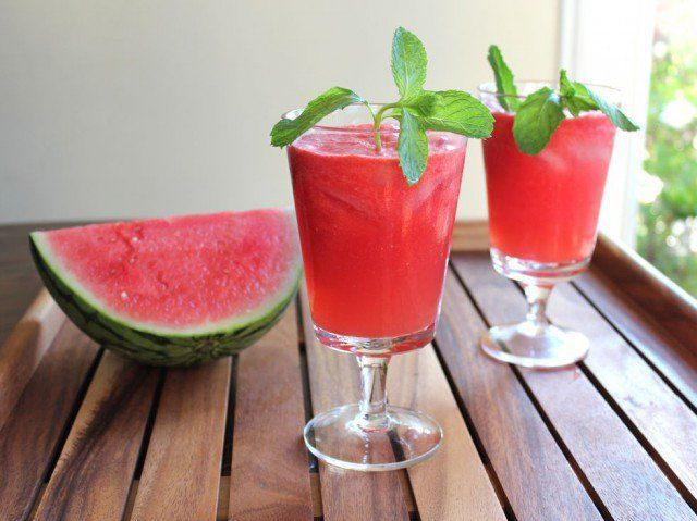 This cool and refreshing drink is made with fresh watermelon, lime juice, sugar and rum. Can be made with alcohol or without. Kosher, Pareve.