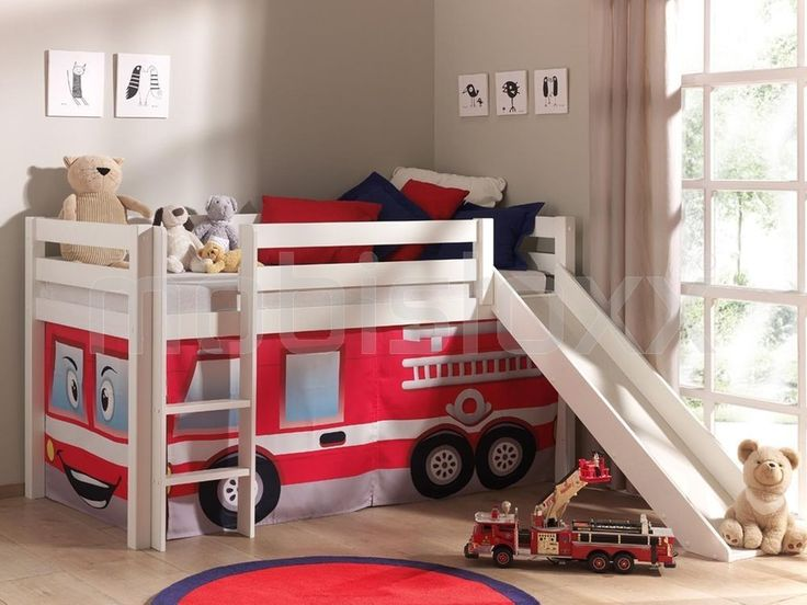 Lit enfant ALIZE avec toboggan 90x200 cm pin blanc tente Pompier 1