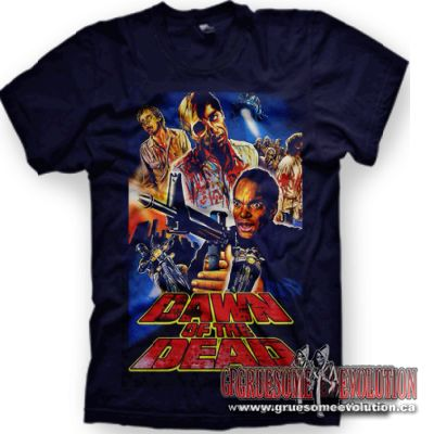 Dark blue t-shirt from the 1970's horror classic by director George A. Romero; featuring a collage of zombies with Flyboy and Peter (Ken Foree) above a Dawn of the Dead logo.