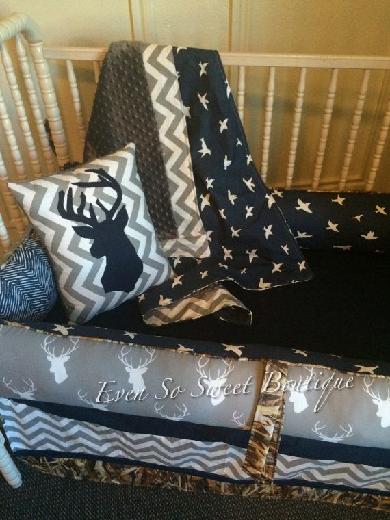 Deer Bird and Duck Camo Baby Bedding Set by evensosweetboutique