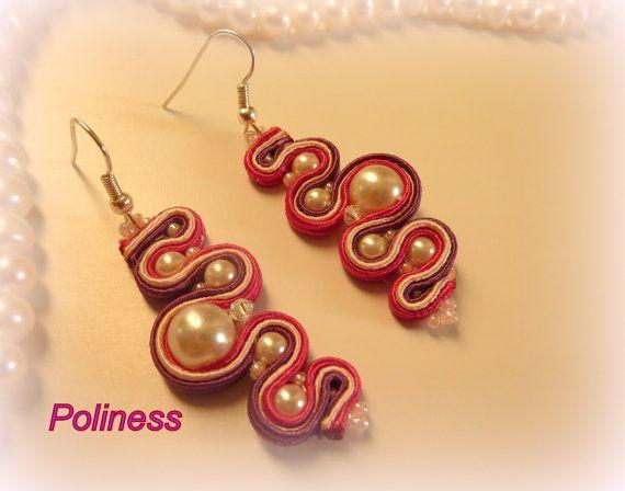 handmade jewelry  soutache earrings  lilac by PolinessJewelry, $25.99