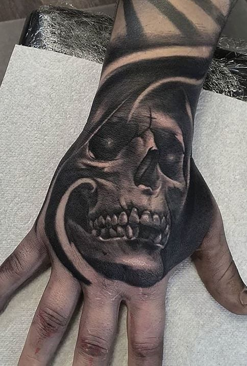 Hand tattoos for men are trendy right now. Getting a hand tattoo is a huge commitment. In this article we have collection trendy hand tattoos for men. Skull Rose Tattoos, Skull Hand Tattoo, Skull Sleeve Tattoos, Hand Tats, Tattoo Sleeve Designs, Body Art Tattoos, Creepy Tattoos, Dope Tattoos, Badass Tattoos