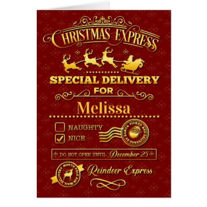 Christmas Special Delivery Card - Xmascards ChristmasEve Christmas Eve Christmas merry xmas family holy kids gifts holidays Santa cards