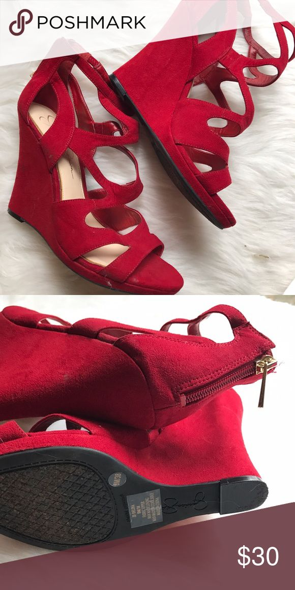 Knockout Jessica Simpson Red wedge heels Jessica Simpson  Red wedge heels  Size 8 Worn once at a photoshoot. There is one tiny not noticeable mark on right near ankle just from being in my shoe storage. Price reflected.   Originally $80.00 Jessica Simpson Shoes Heels
