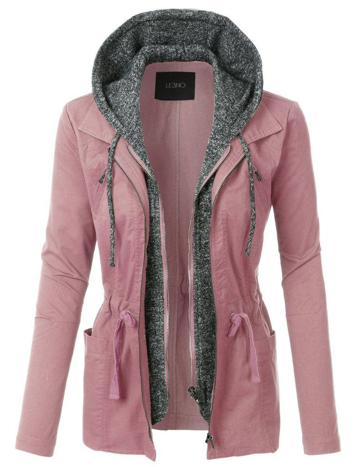 LE3NO Womens Lightweight Military Anorak Jacket with Fleece Hoodie