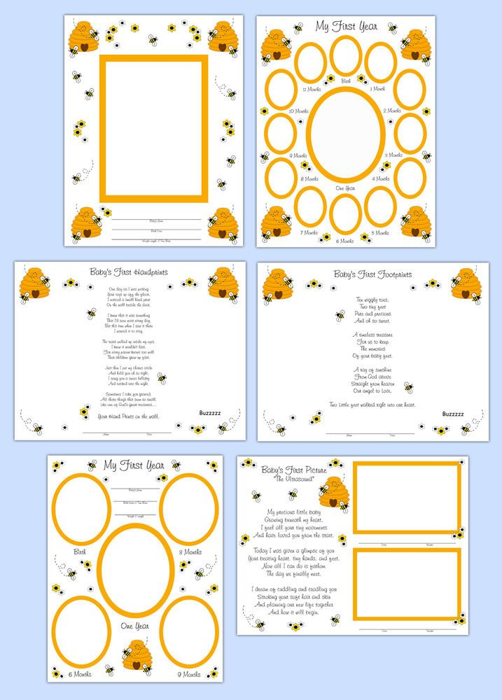 Baby Shower Scrapbook Pages Part - 40: Bumble Bee Premade Scrapbook Layout Pages Baby Girl Shower Gift Wall Art  Prints