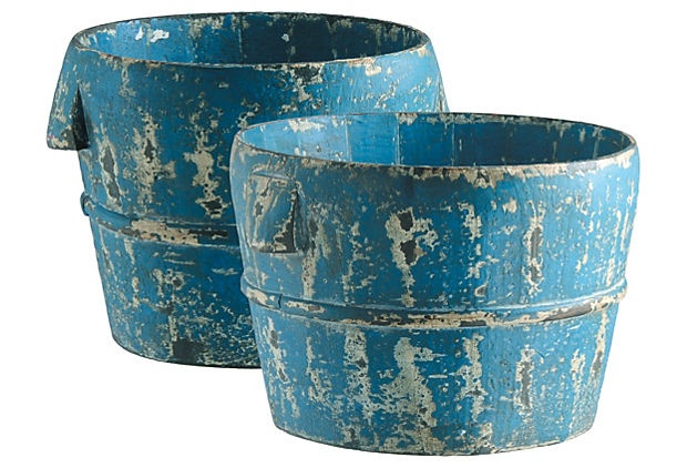 Weathered blue bucketsBlue Buckets, Outdoor Pots, Outdoor Patios, Outdoor Decor, Flower Pots, Blue Weather, Products, Clay Pots, Backyards