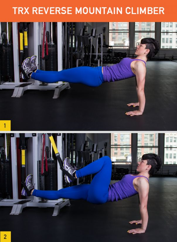 TRX Mountain Climber Targets: Triceps, abs, hip flexors, quads, hamstrings