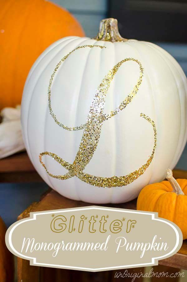 Quick and simple rustic glam fall decor - a Glitter Monogrammed Pumpkin! Plus a tutorial on using Silhouette double-sided adhesive. #cinderella #pumpkin #halloween