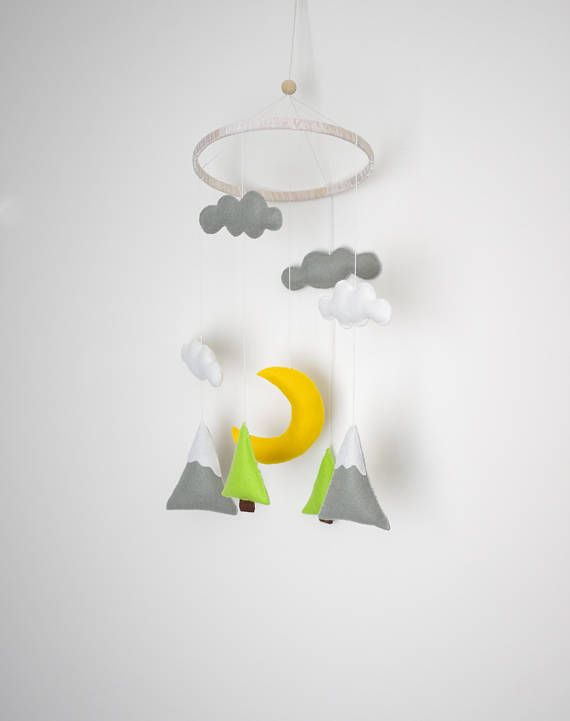 20 % Mountain And Moon Mobile Baby Mobile Mountain Nursery Decor Mountain  Nursery Decor Unisex Mobile Neutral Mobile Moon Cloud Mobile