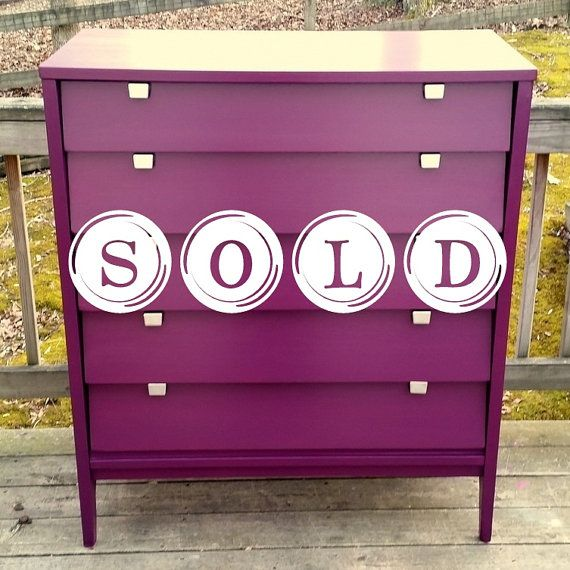 SOLD // Mid Century Modern Tallboy/ Luxurious Purple / Chest of Drawers / Dresser / Painted Furniture