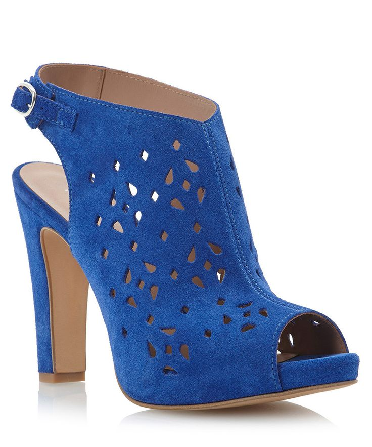 Cut-out navy suede peep-toe heels by Pied a Terre on secretsales.com