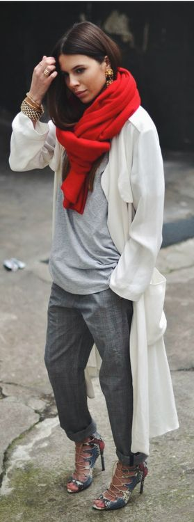 silver and a red scarf