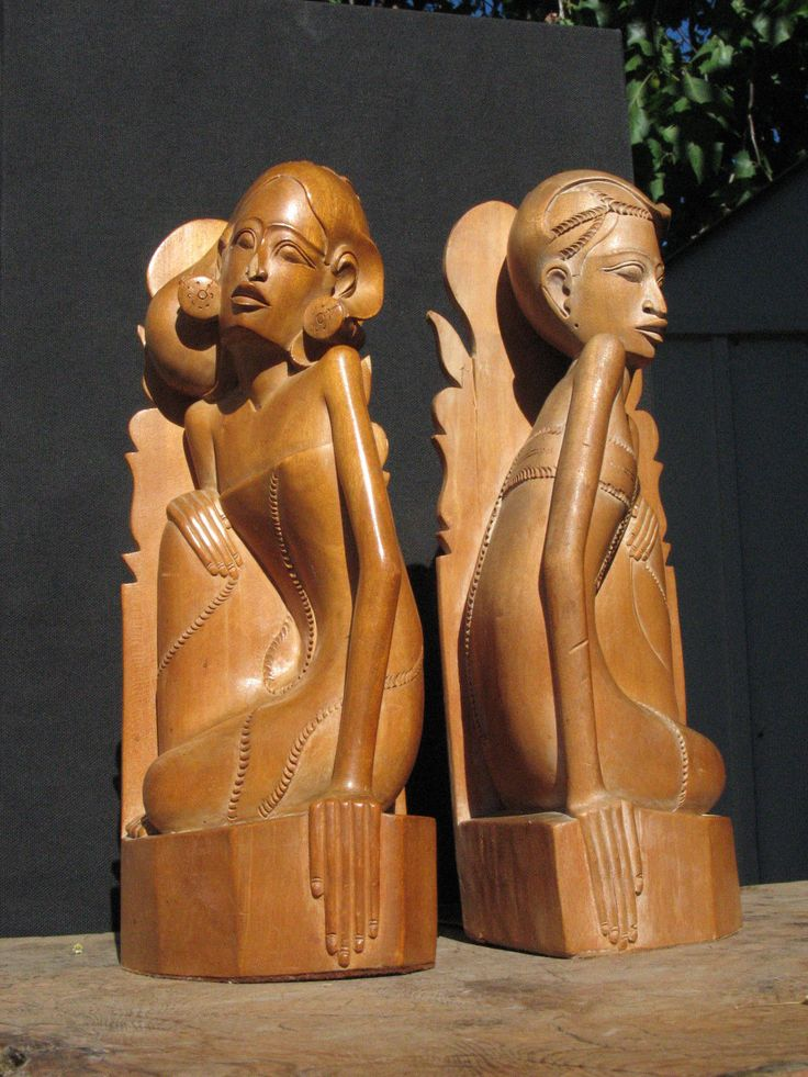 Art deco pair of vintage hand carved wood bookends man n