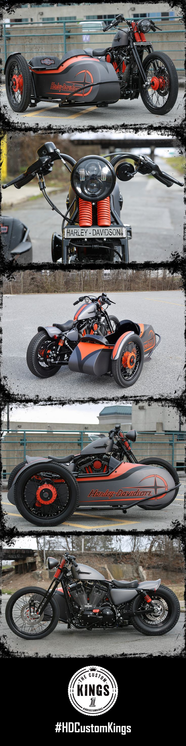 Greensboro Harley-Davidson took a 2016 Seventy-Two and added a sidecar to their aggressive looking masterpiece. | Harley-Davidson #HDCustomKings