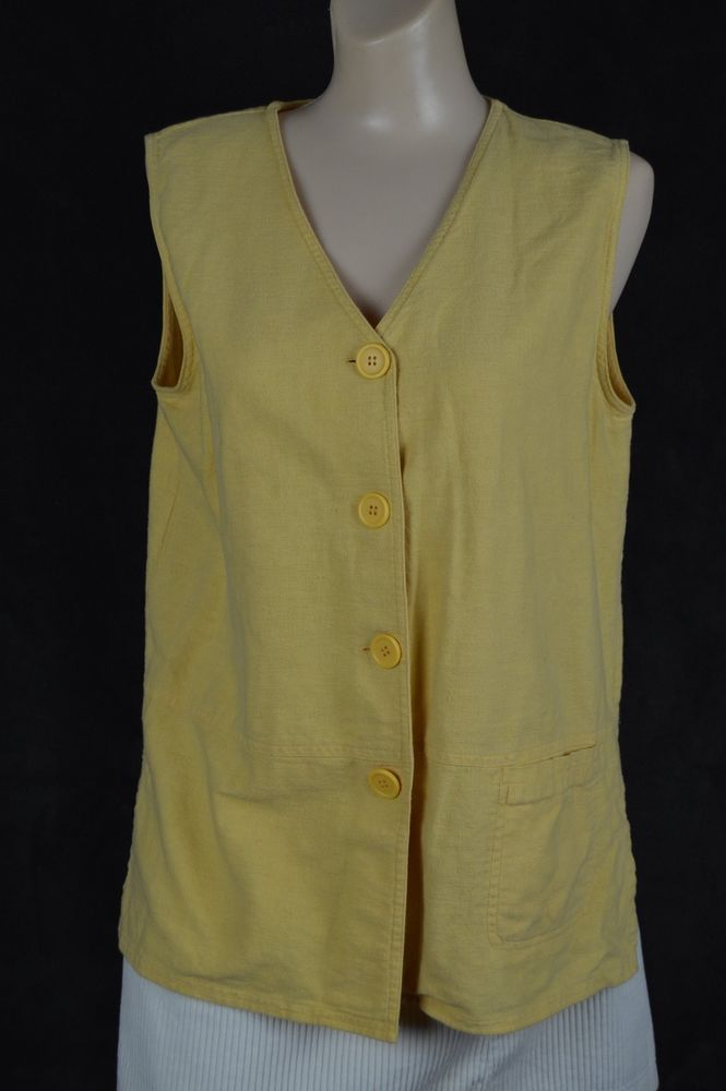 Kathie Lee medium M mustard Linen sleeveless v-neck Button front top FREE SHIP #KathieLee #ButtonDownShirt #Casual