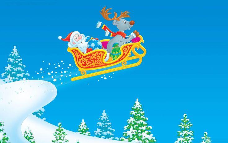 Santa Claus Cartoon | Weihnachtsmann auf Rentierschlitten Puzzle Spiele