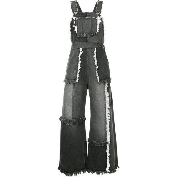 G.V.G.V. patchwork denim dungarees (€255) ❤ liked on Polyvore featuring jumpsuits, grey, denim jumpsuits, grey jumpsuit, denim dungaree and gray jumpsuits