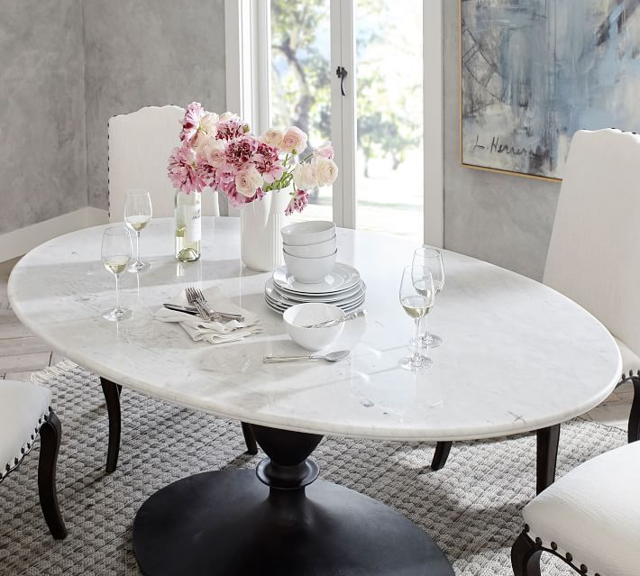 Chapman Oval Marble Pedestal Dining Table Oval Table Dining Dining Table Marble Marble Pedestal Dining Table