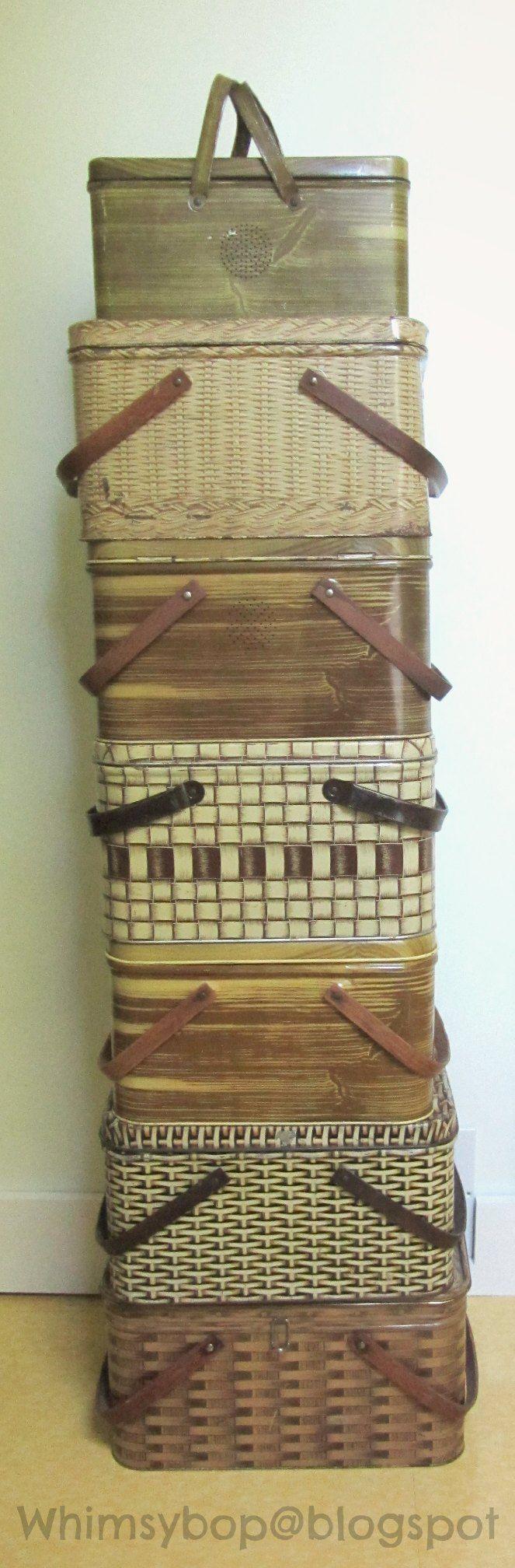 vintage tin picnic baskets