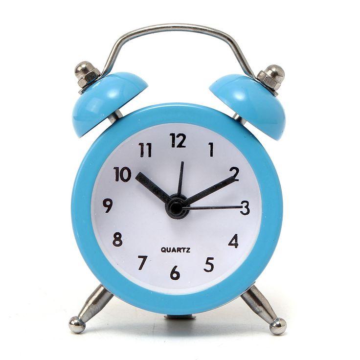 Vintage Twin Bell Alarm Clock Traditional Quartz Bedside Desk Analogue Kids 6 Colors 50x45x115mm