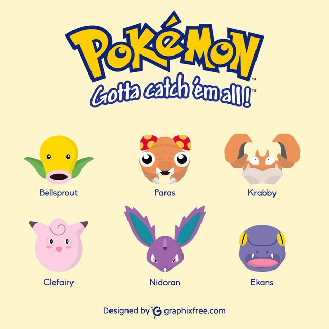 Pokemons: Bellsprout, Paras, Krabby, Clefairy, Nidoran, Ekans - #pokemon #go #pokemongo #bellsprout #paras #krabby #clefairy #nidoran #ekans #games #gaming #manga #shinypokemon #nintendo #cosplay #catch #pokemoncard #collecting #park