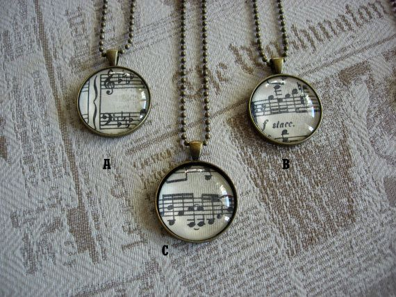 Old Papers - Glass cabochon necklace with old music sheet - gift for her - retro, upcycled by KeyToHappyness #italiasmartteam #etsy  #handmadejewelry