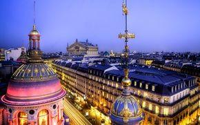 Обои Франция, Париж, France, архитектура, крыши, город, вечер, дворец, здания, Опера Гарнье, свет, Парижская опера, Grand ...