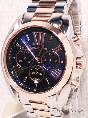 Michael Kors Watch MK5606 Ladies Bradshaw Two Tone SS Rose Blue Dial MSRP $250