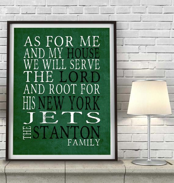 "New York Jets football inspired Personalized Customized Art Print- ""As for Me"" Parody- Unframed Print"