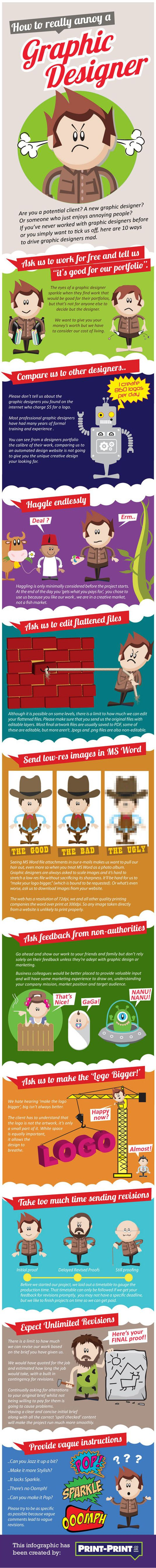 How to really annoy a graphic designer | Infographic | Creative Bloq