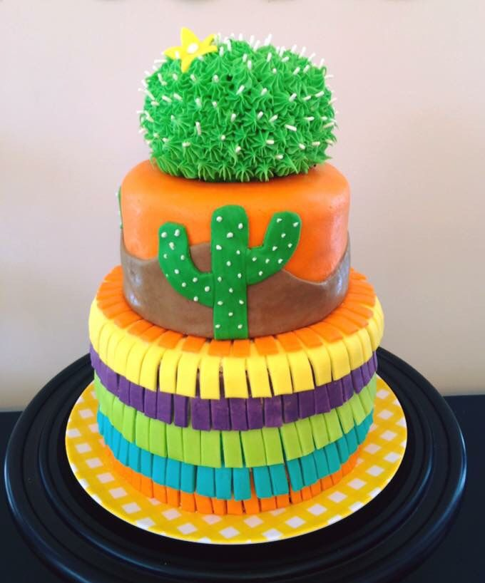 Mexican Fiesta themed birthday party. Cactus cake. Piñata cake. By Love + Cake